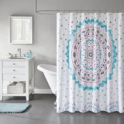 Amazon Comfort Spaces Teal Pink White Grey Shower Curtain