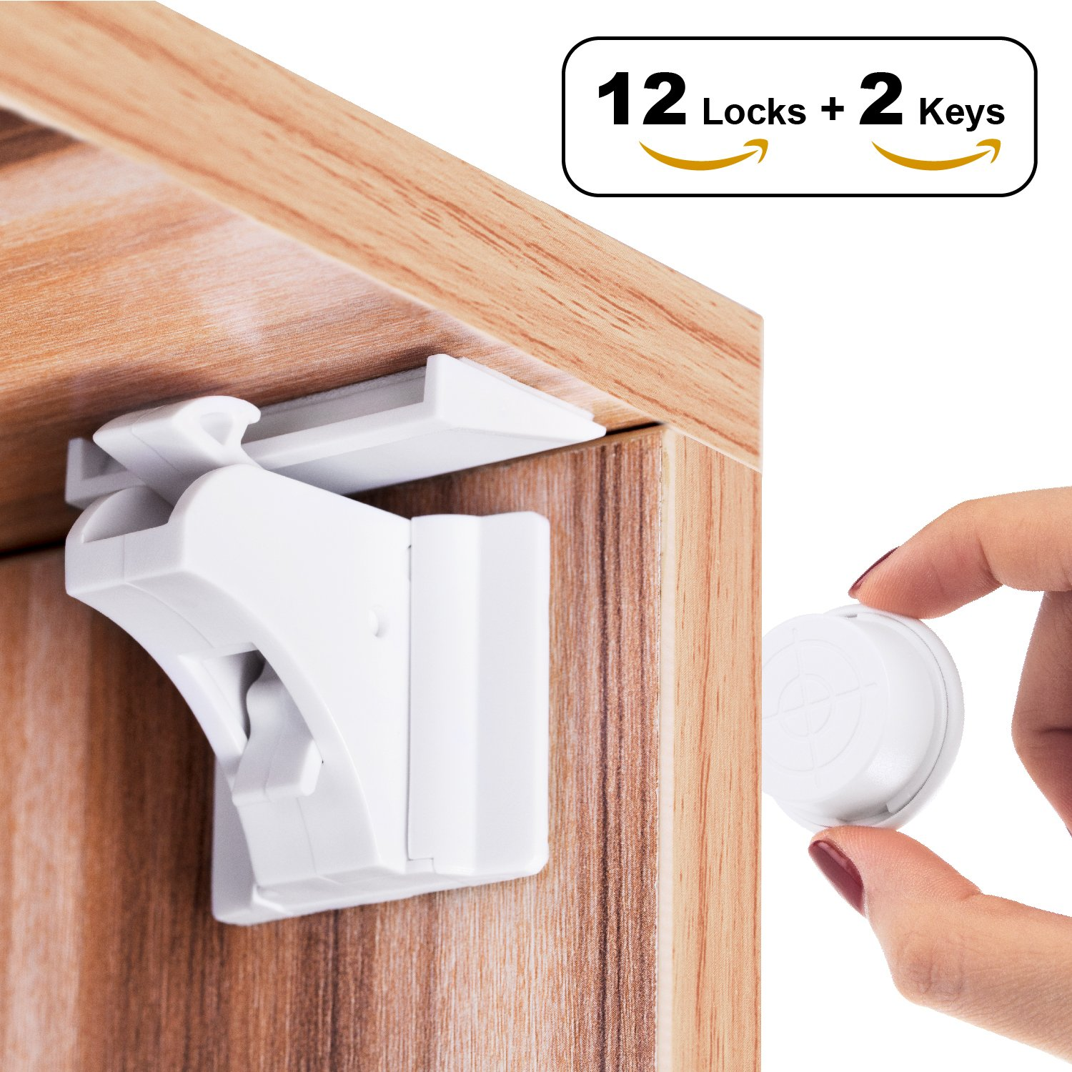 Magnetic Cabinet Locks Child Safety Locks, 12Locks+2Keys Drawer Locks for Baby Proofing Cabinets - No Need Tools Drilling Measuring