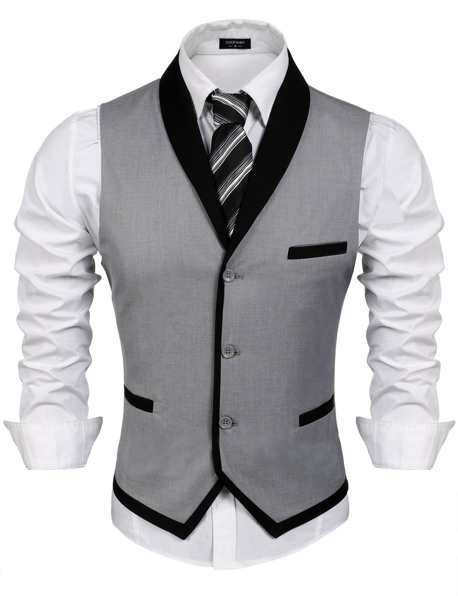 COOFANDY Men's V-Neck Sleeveless Slim Fit Vest,Jacket Business Suit Dress Vest,Grey,X-Large(Chest: 47.2'')