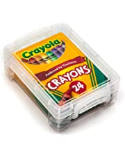 Crayola Crayons 24 Count with Clear Super Stacker Plastic Crayon Box (Bundle)