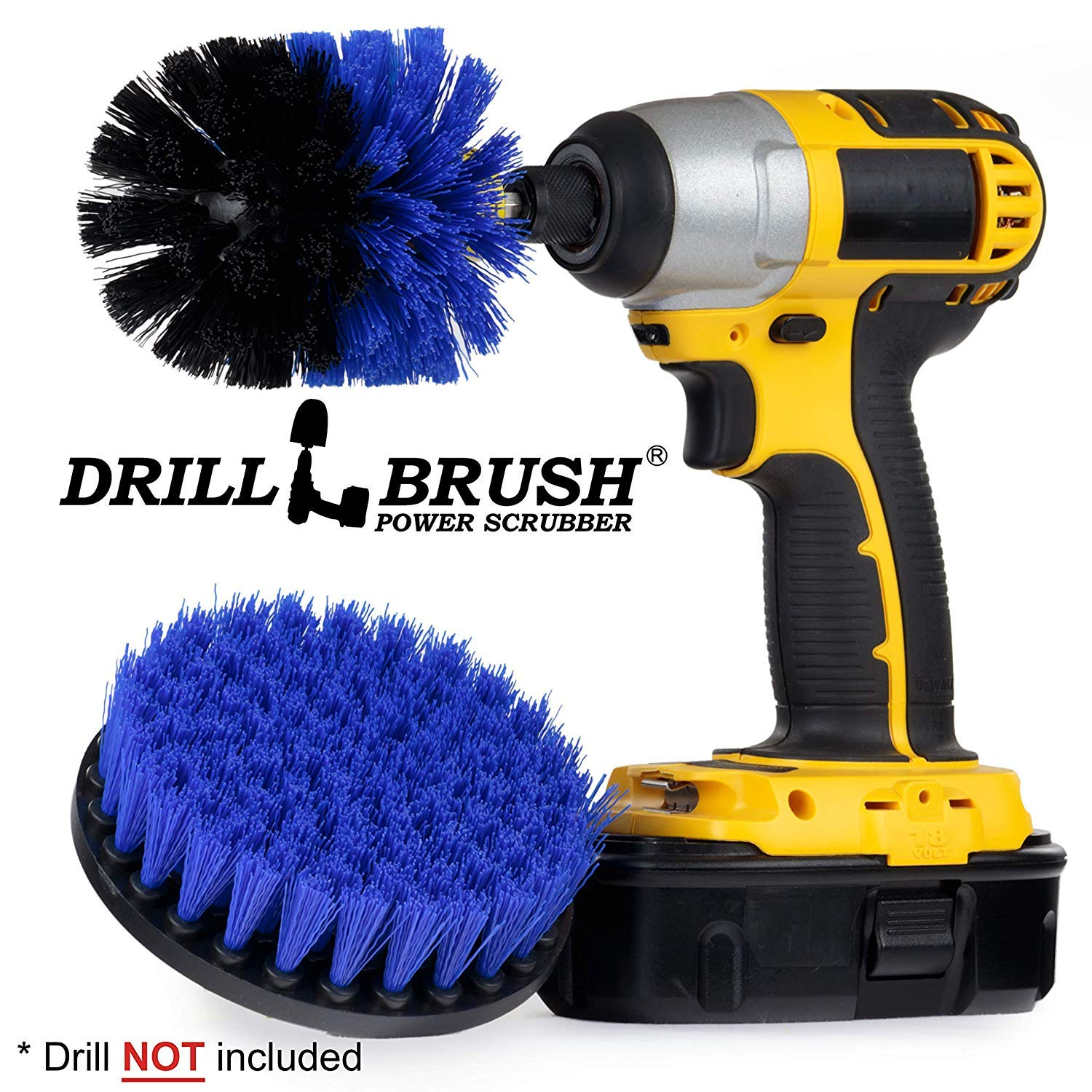 Cleaning Supplies - Marine - Boat Accessories - Drill Brush - Hull Cleaner - Boat - Inflatable - Kayak - Canoe - Raft - Deck - Spin Brush - Pond Scum, Residue, Barnacles, Oxidation by Drillbrush