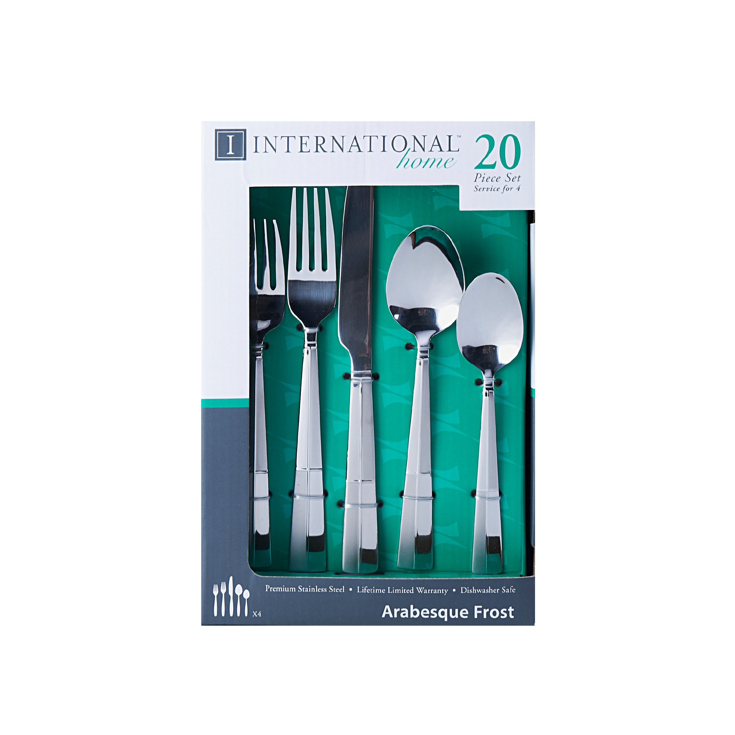 International Silver 5114325 Arabesque Frost 20-Piece Stainless Steel Flatware Set, Service for 4 by International Silver (Image #2)