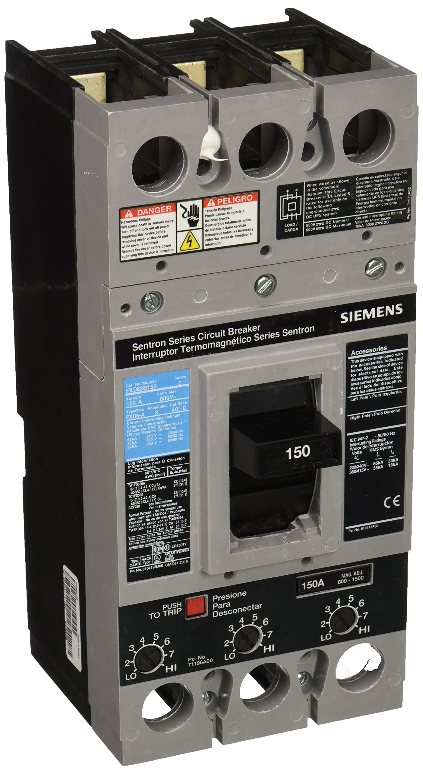 Siemens FXD63B150 150 Amp Type FXD6-A Circuit Breaker