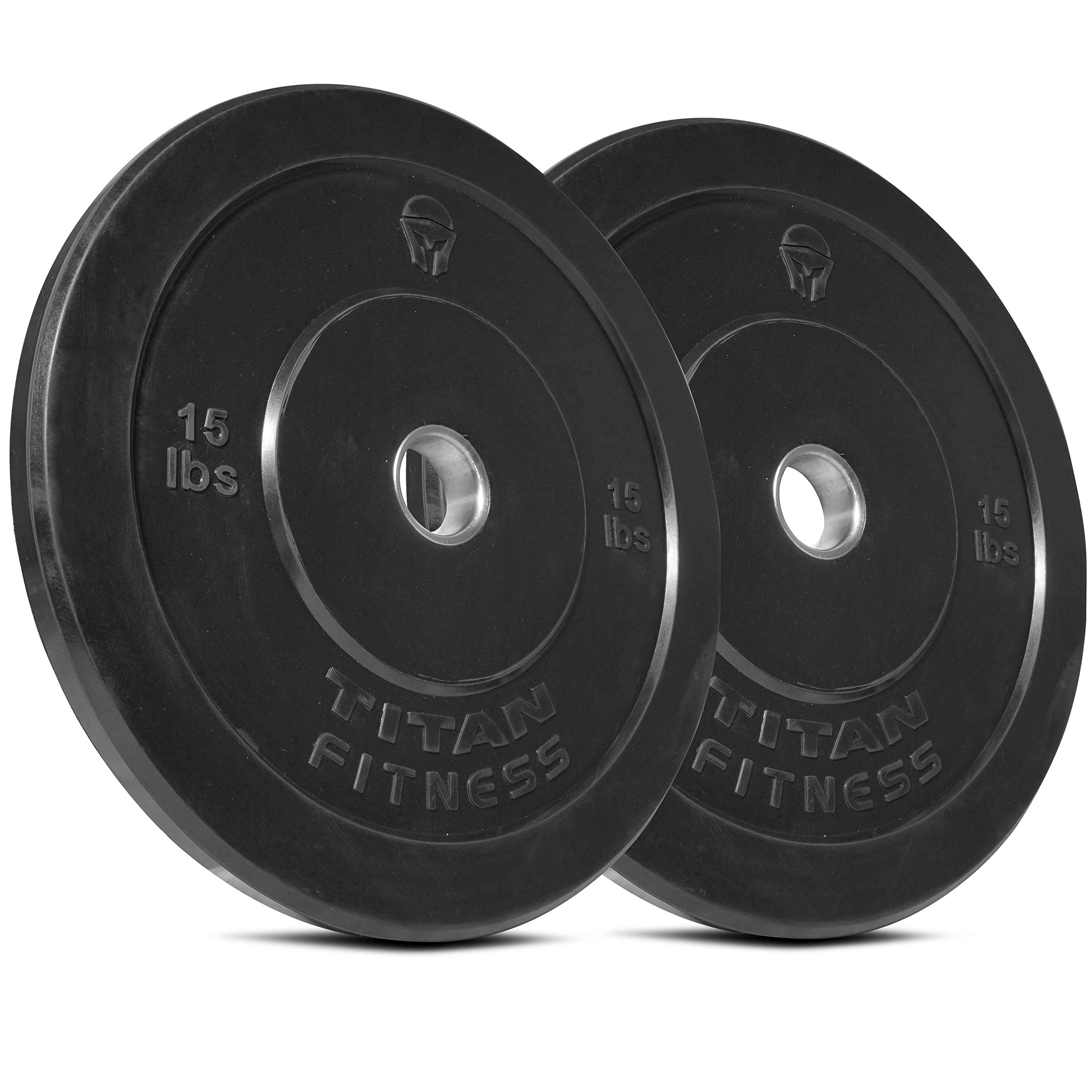 Titan Fitness Pair 15 lb Olympic Bumper Plate Black Benchpress Strength Training by Titan Fitness
