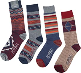 Buffalo David Bitton Mens Graphic Crew Socks 4 Pk-Burg/Blu/Org-