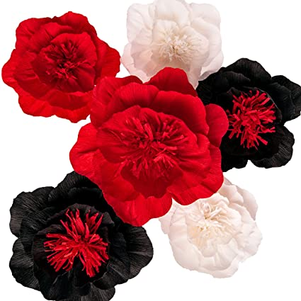 Amazon paper flower decorations large paper flowers crepe paper flower decorations large paper flowers crepe paper flowers handcrafted flowers black mightylinksfo
