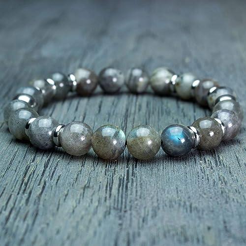 pas mal 901d1 f6c2e Bracelet Homme/Femme perles Ø8mm Pierre naturelle Larvikite ...