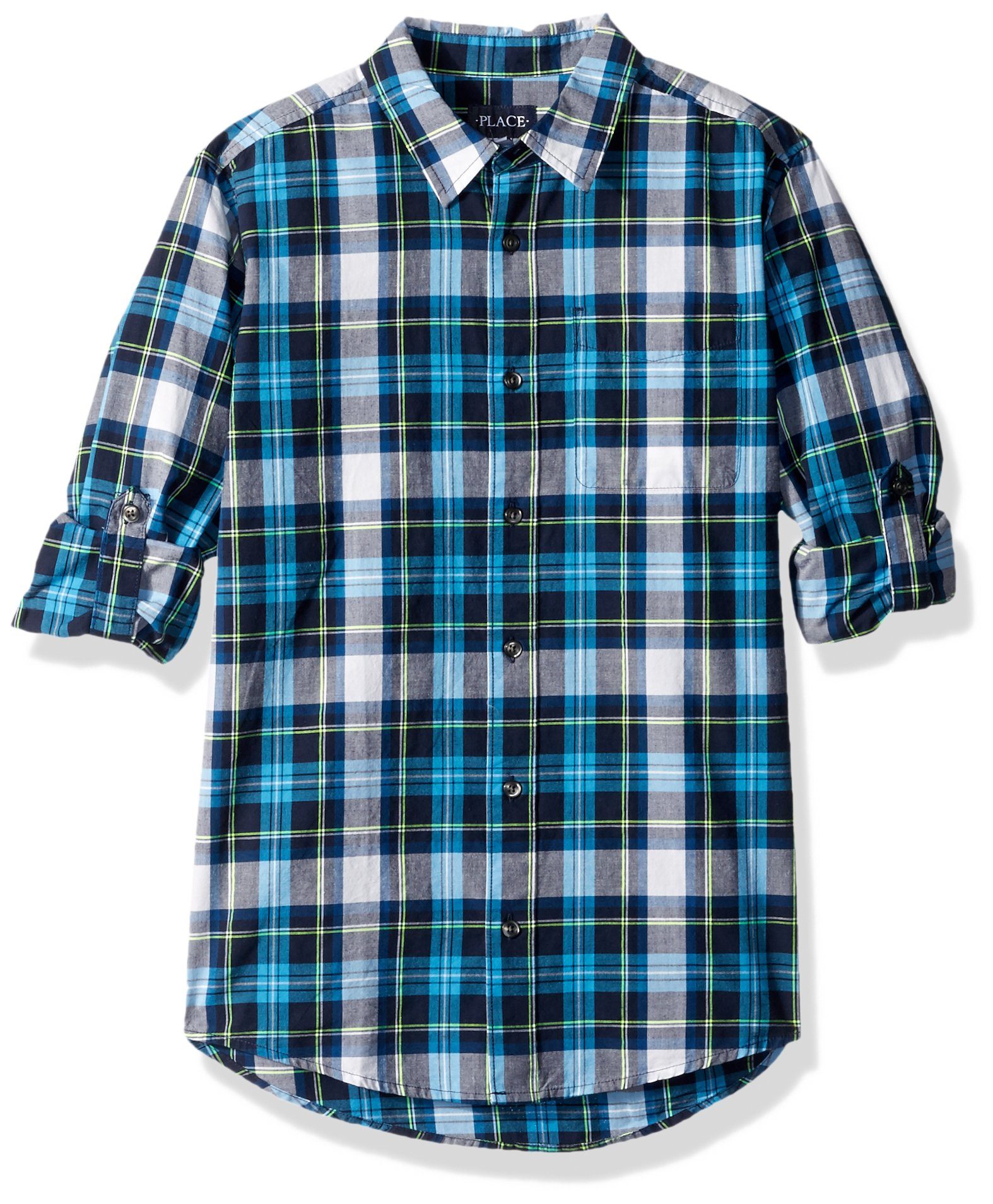 The Children's Place Big Boys' Plaid Double-Roll Shirt, Sojourn Blue, M (7/8)
