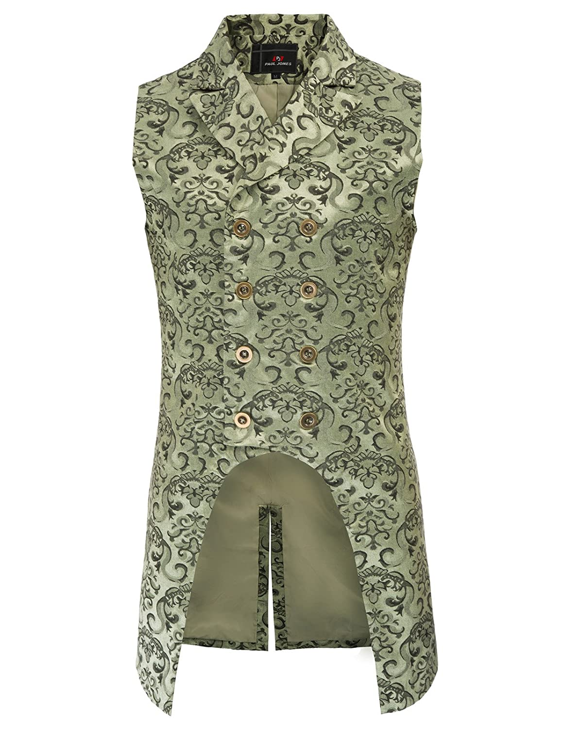 Mens Steampunk Gothic Vest Waistcoat Double-Breasted Jacquard Coat Green M