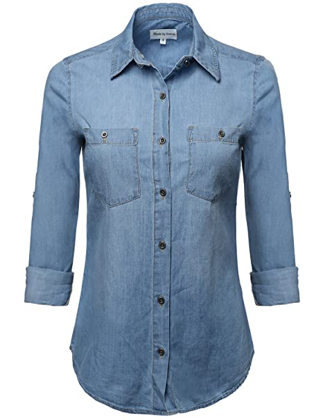 Rosie the Riveter Costume & Outfit Ideas Made by Emma Womens Basic Classic Button Closure Roll up Sleeves Chest Pocket Denim Chambray $29.97 AT vintagedancer.com