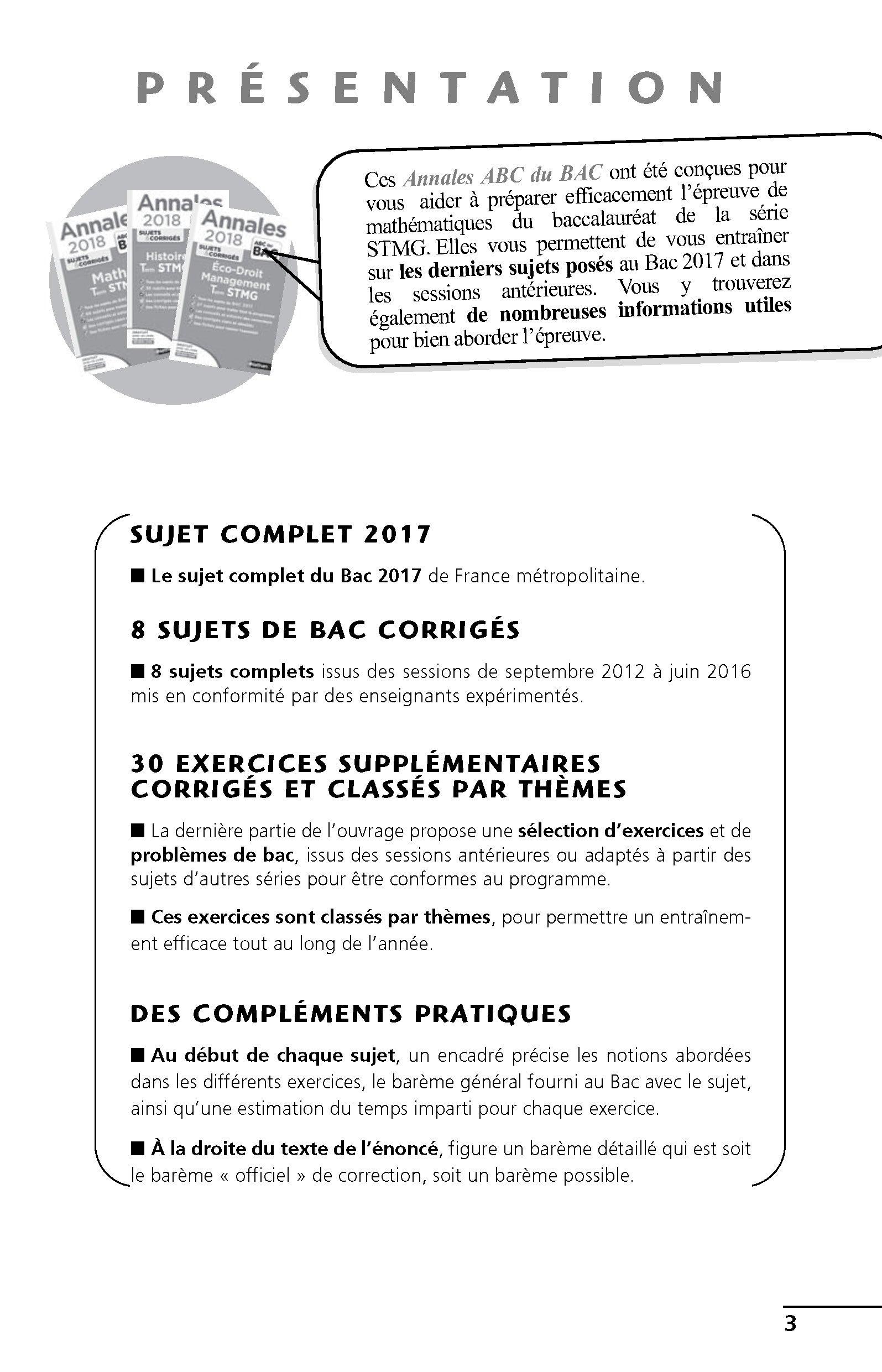 Mathématiques Tle STMG : Sujets & corrigés Annales ABC du Bac: Amazon.es: Poncy Michel: Libros en idiomas extranjeros