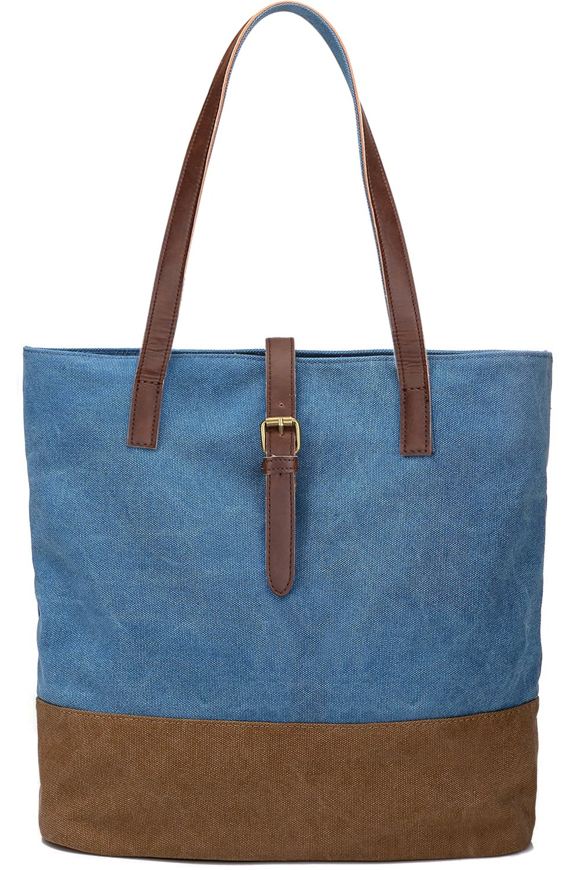 S-ZONE Women's Canvas Bag Lightweight Shoulder Bag Ladies Handbag Shopping Purse (Dark Blue)