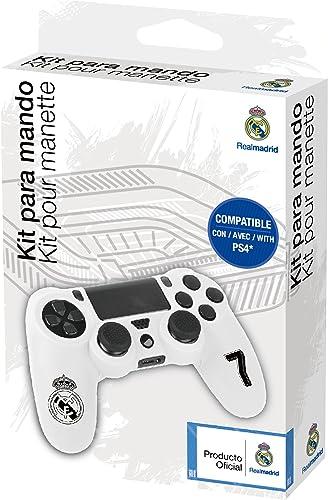 Funda protectora de silicona para mando PS4 - Carcasa blanda antideslizante con Thumb grips caps de precisión para joysticks – Accesorios videojuegos con licencia oficial Real Madrid: Amazon.es: Videojuegos