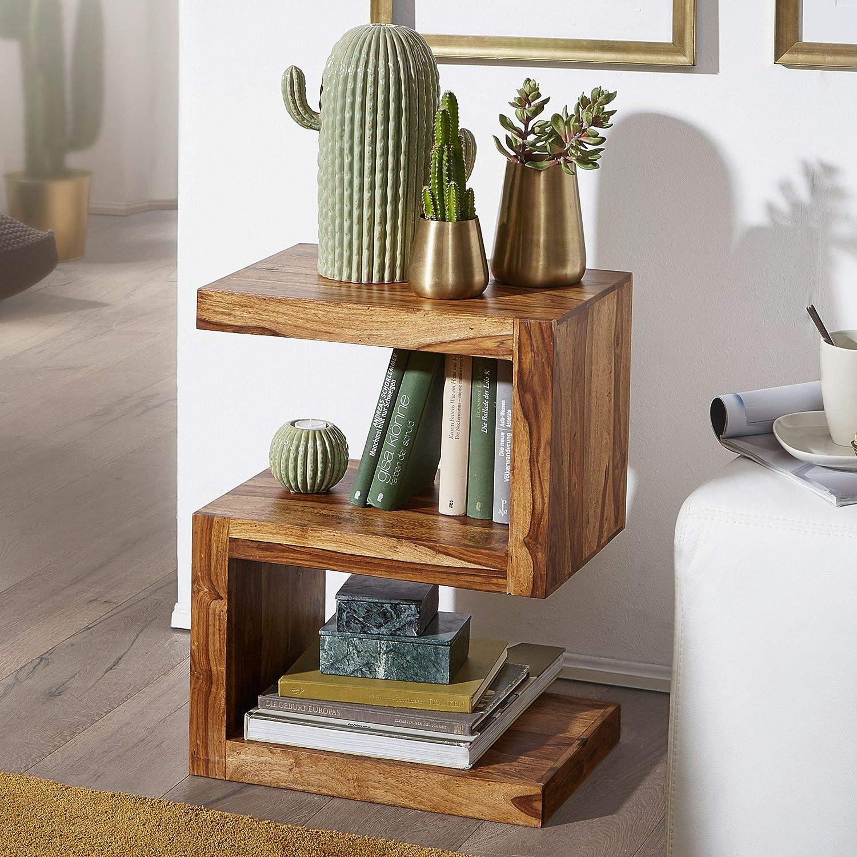 Bout de canap/é est FineBuy Table dappoint Bois Massif Sheesham 44 x 60 x 30 cm Table Basse Salon Table en Bois Capacit/é de Charge par Plaque: 30 kg