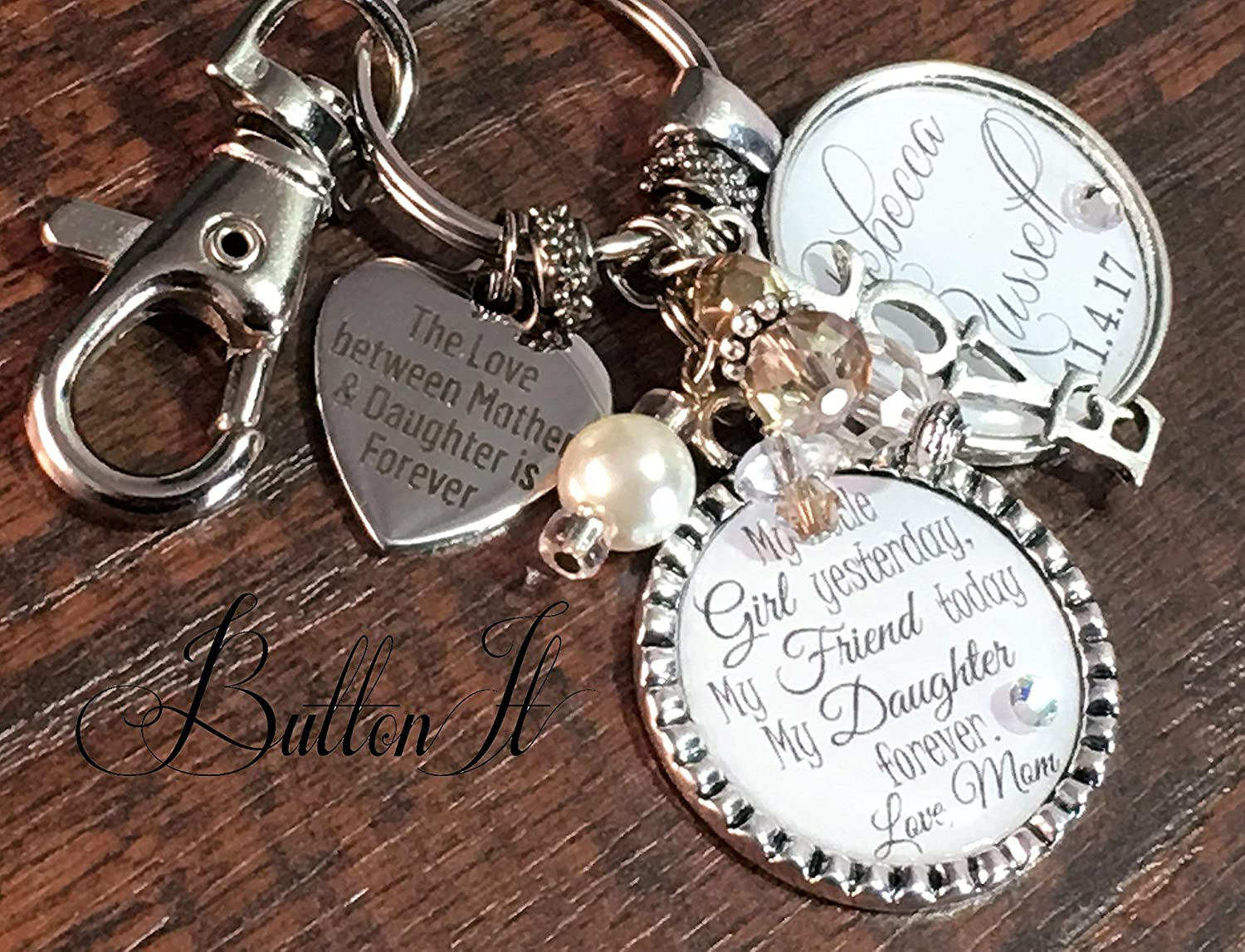 bridal bouquet charm wedding bouquet charm daughter wedding gift ill love you forever like you for always bridal shower gift mother daughter jewelry