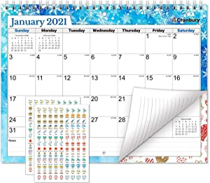CRANBURY Small Wall Calendar 2020-2021 - (Seasons) Monthly Calendar for Binder, Desk or Wall, 8.5x11, Use to December 2021, School Year Calendar, Includes Stickers for Calendars