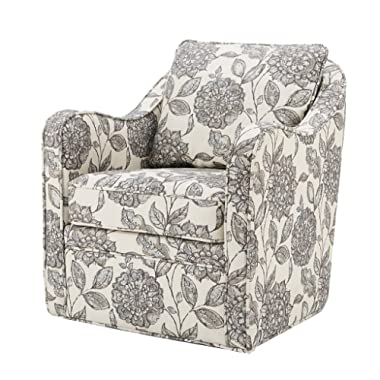 Madison Park MP103-0241 Brianne Swivel Chair - Solid Wood, Plywood, Metal Base Accent Armchair Modern Classic Style Family Room Sofa Furniture, Multi