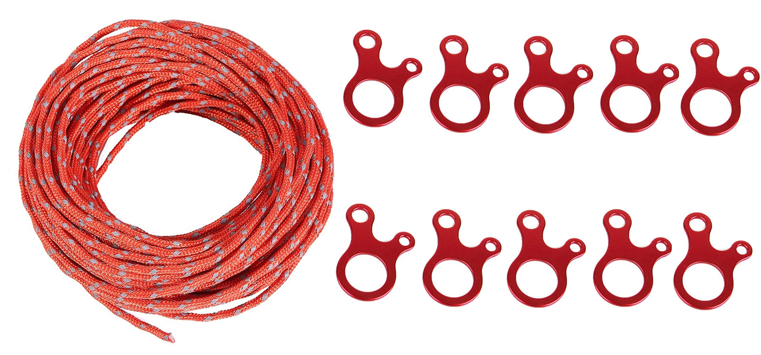 SWONVI (TM) 10 Packs 3 Hole Ultralight Aluminum Guyline Cord Adjuster for Tent Pegs With 4 MM Orange Reflective Cord 100 Feet Long Tent Guyline Rope And Carry Pouch (Orange)