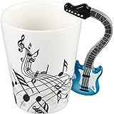 Neolith Novelty Music Coffee Mugs Tea Cup Unique Design Interesting Outline Blue Mugs Best Gift Love Music Cool Guitar Holds Tea Coffee Milk Ceramic Mug with Gift Box Art Mug (13.5 oz, DarkBlue)