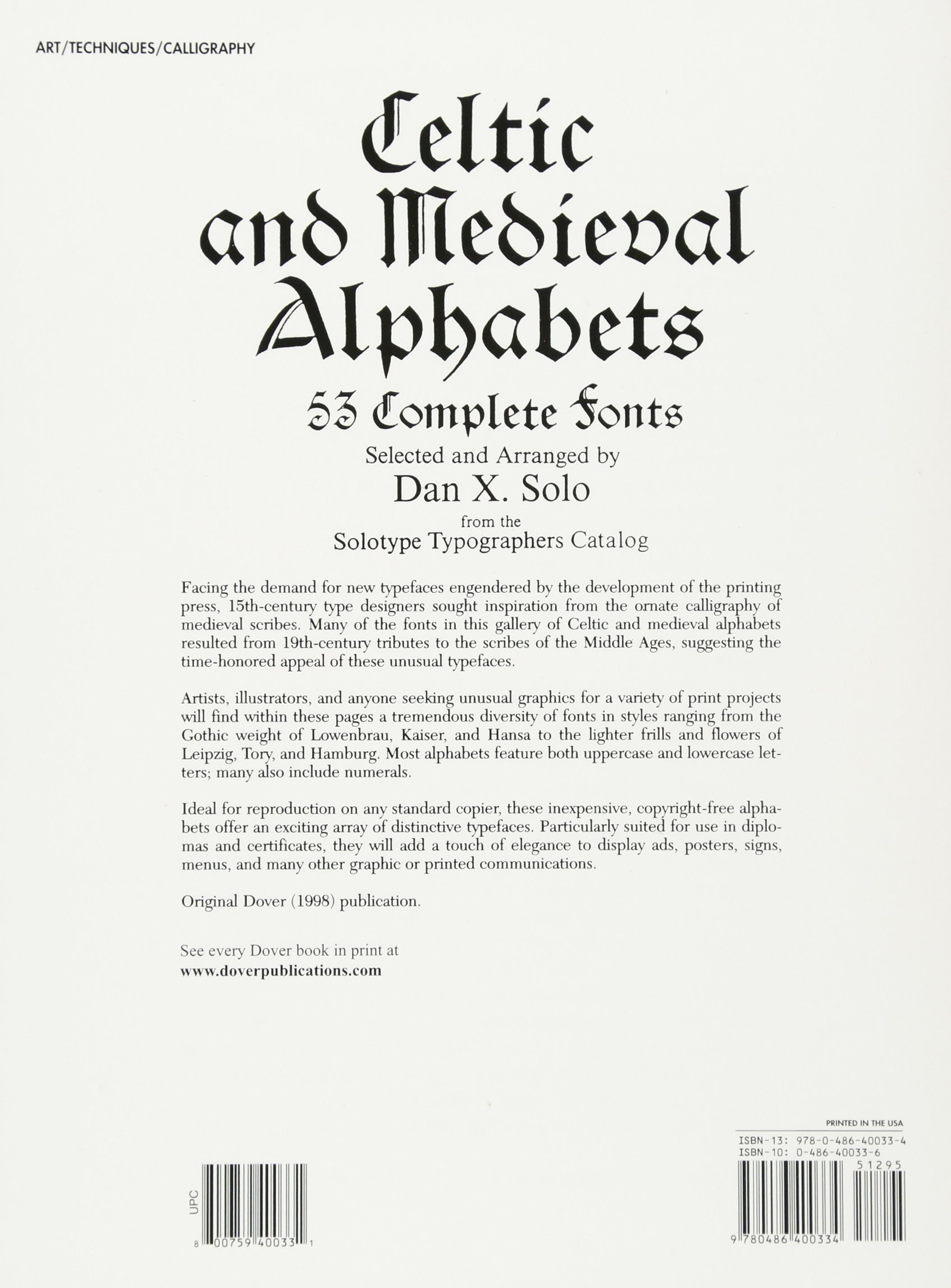 Celtic And Medieval Alphabets 53 Complete Fonts Lettering Calligraphy Typography Dan X Solo 0800759400331 Amazon Books