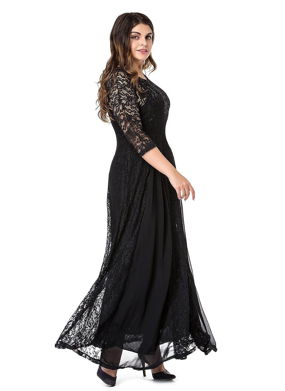 ESPRLIA Womens Plus Size Floral Lace 3//4 Sleeve Wedding Maxi Dress
