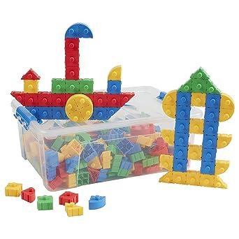 ECR4Kids Slide-n-Stack Shapes Math Manipulatives Kit de construcción, juguetes educativos sensoriales