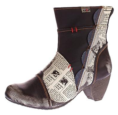 51c94e3659f630 TMA Damen Stiefeletten 8911 Echt Leder Stiefel Muster variieren Comfort  Schuhe Boots Schwarz Gr. 36