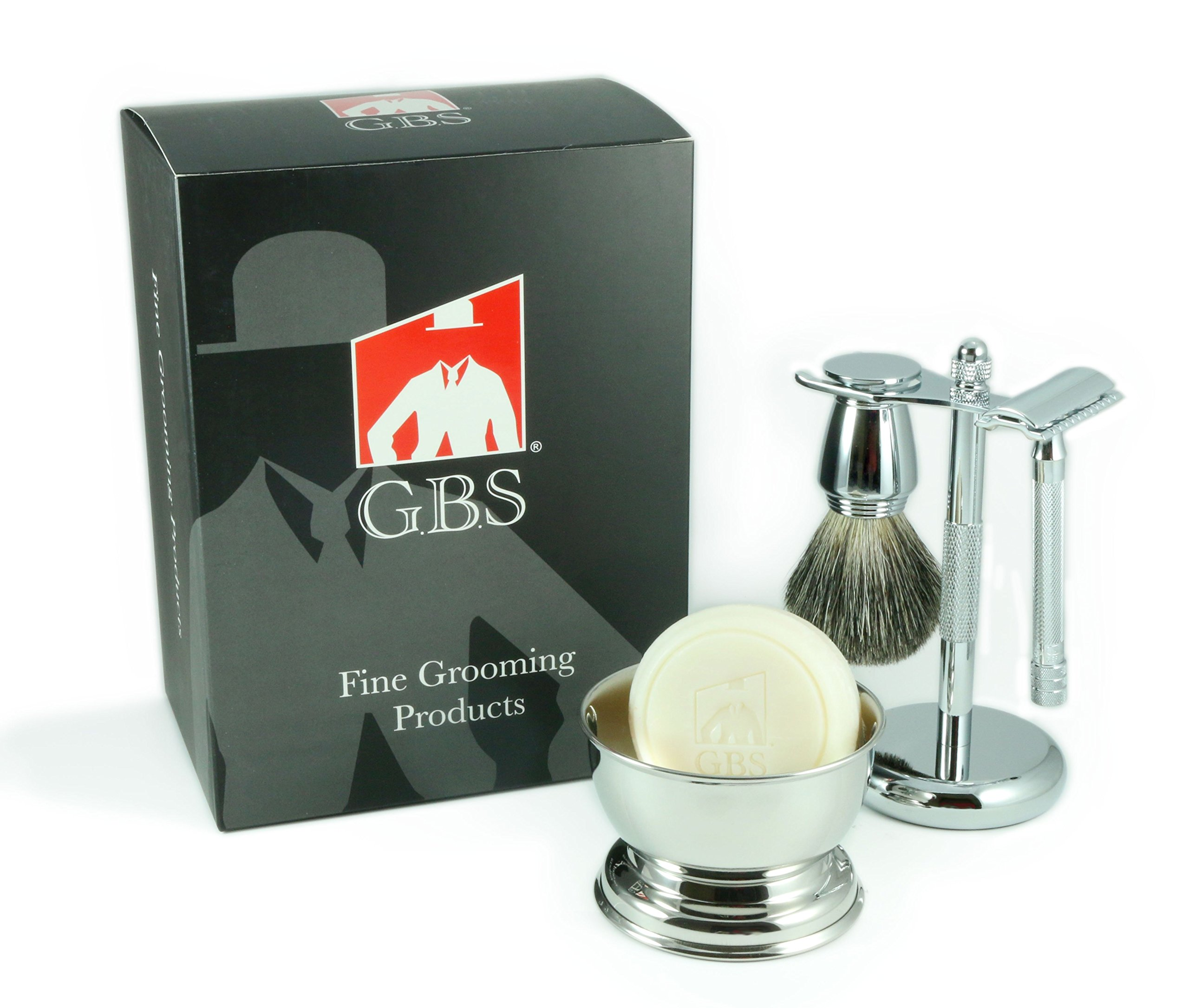 5 Piece Shaving Gift Set - Comes with Gift Box - Merkur 23C Long Handle Safety Razor, Bowl, GBS Shaving Soap, Badger Brush, Stand and Safety Razor