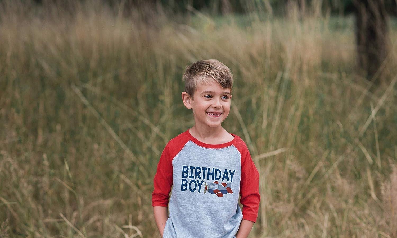 7 ate 9 Apparel Boys Birthday Boy Airplane Red Raglan Tee