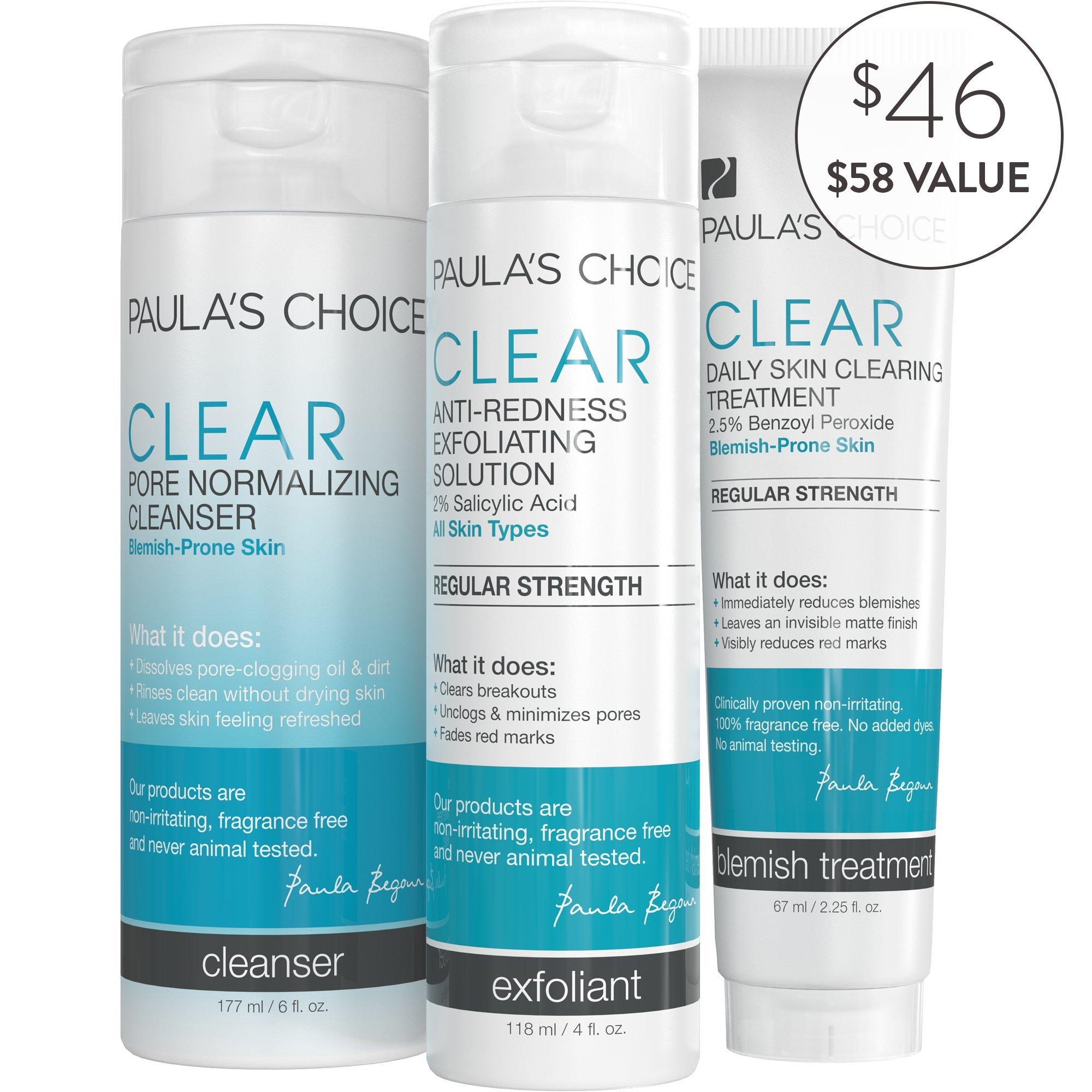 Paula's Choice-CLEAR Regular Strength Acne Kit-2% Salicylic Acid & 2.5% Benzoyl Peroxide for Moderate Facial Acne-For Blemish Prone Skin