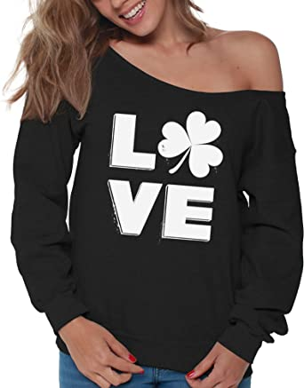 60e2840a54afef Vizor Love Shamrock Off Shoulder Sweatshirt St. Patrick s Day Sweater for  Women Black S