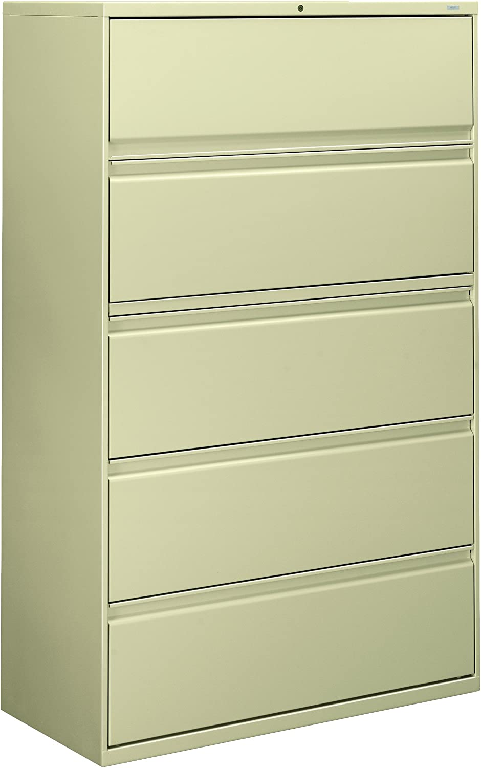 HON 895LL 800 Series Five-Drawer Lateral File, Roll-Out/Posting Shelves, 42w x 67h, Putty