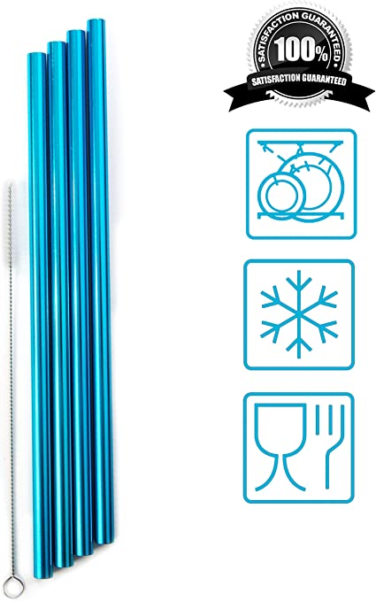 Réutilisable Métalliques En Acier Inoxydable pailles Party Bar avec Kit de Nettoyage Brosse
