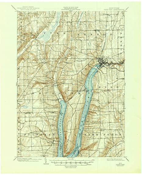 Amazon.com : YellowMaps Penn Yan NY topo map, 1:62500 Scale, 15 X 15 on
