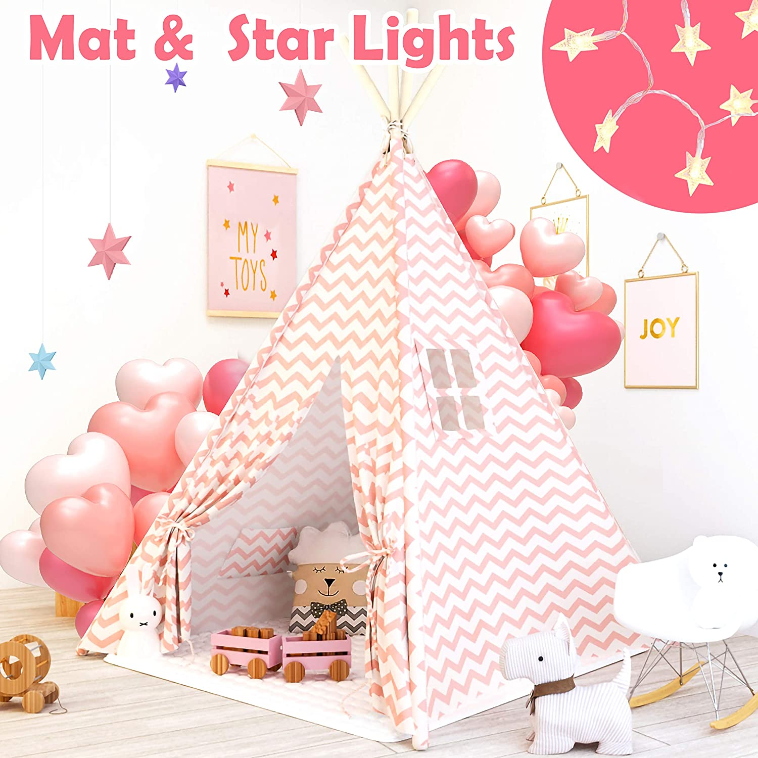 Tiny Land Teepee Tent for Kids with Mat & Light String - Girls Play Tent Pink Chevron Cotton Canvas Tipi