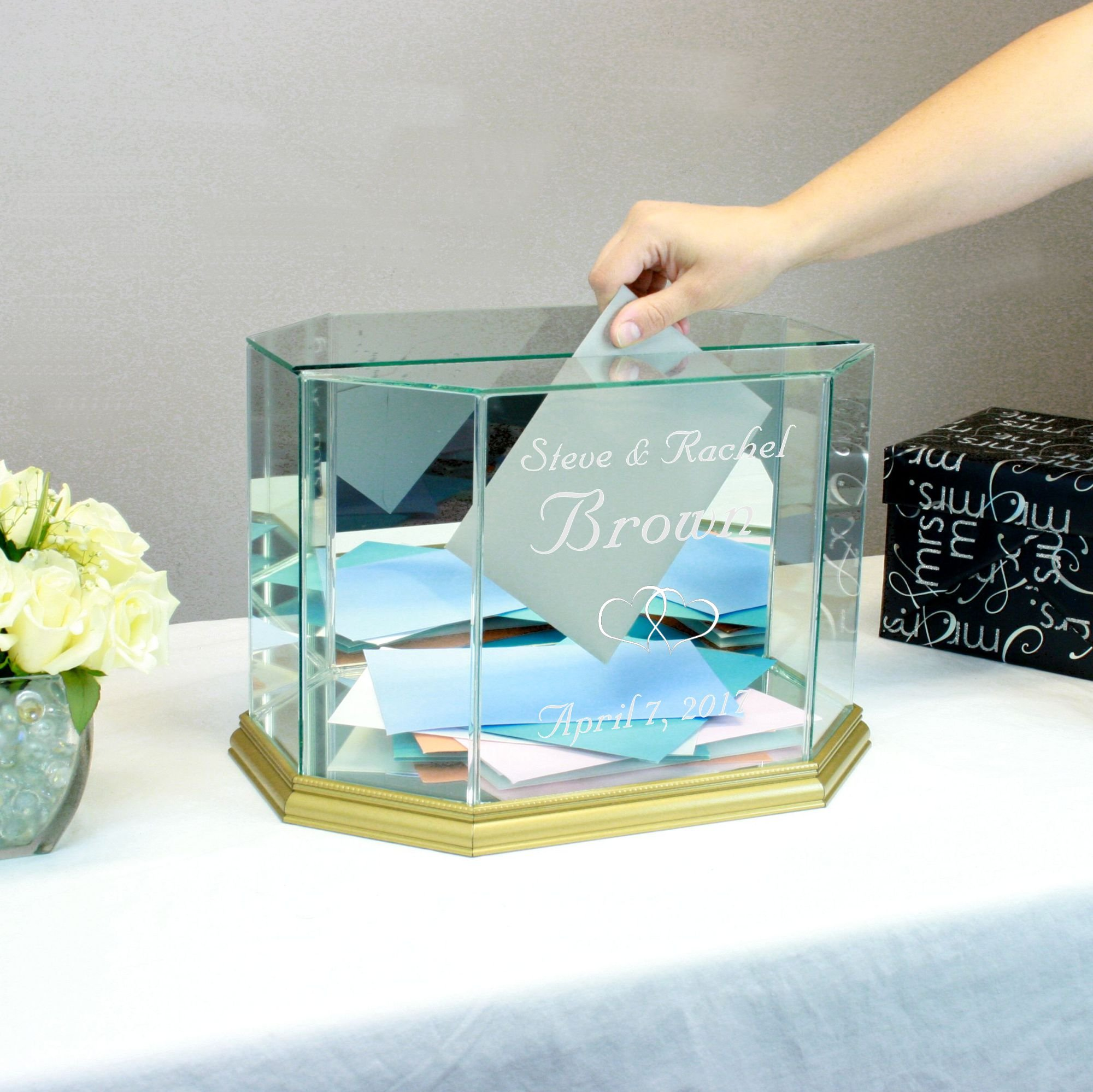Personalized Glass Octagon Wedding Card Box Gold