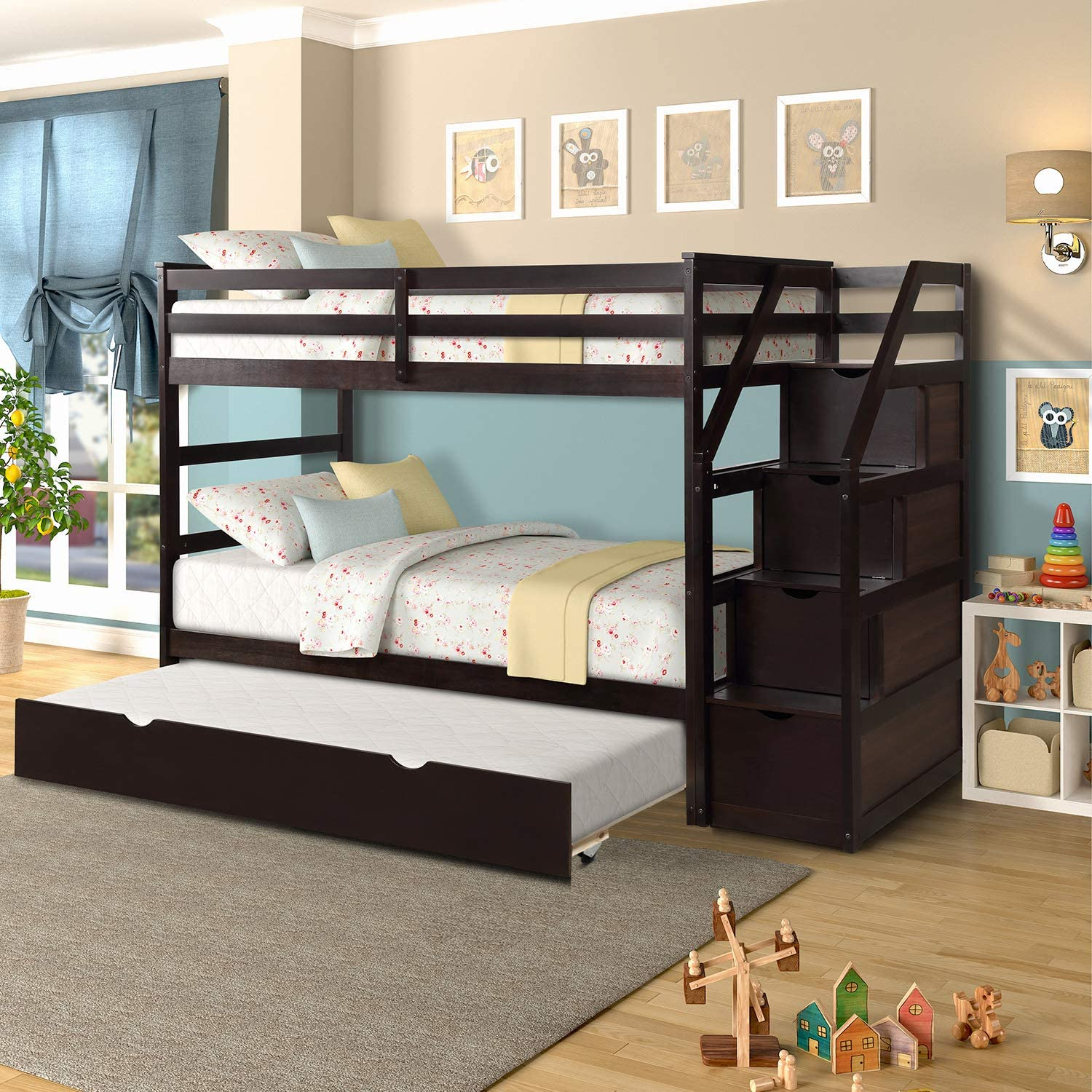 Amazon Com Merax Solid Wood Twin Over Twin Bunk Bed Trundle Bunk Bed With 3 Storage Drawers Staircase And Safety Guard Rail For Boys Girls Kids Teens And Adults Espresso Kitchen Dining