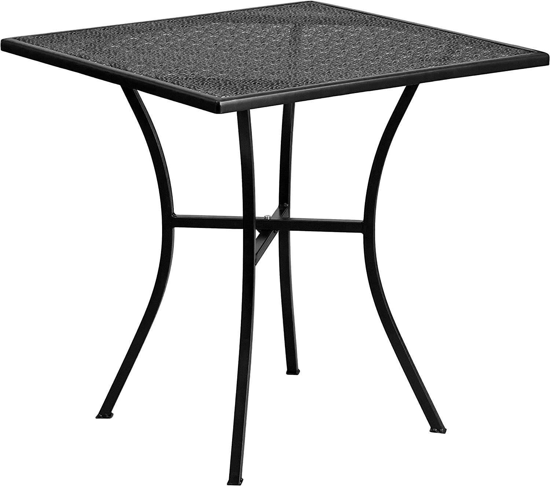 Flash Furniture 28 Square Black Indoor-Outdoor Steel Patio Table