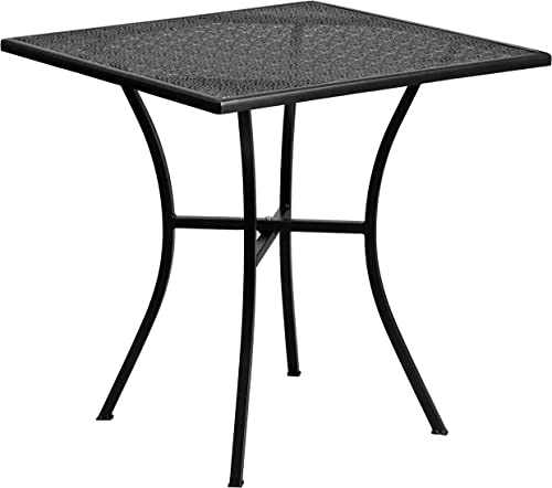 Flash Furniture Commercial Grade 28″ Square Black Indoor-Outdoor Steel Patio Table
