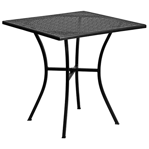 Flash Furniture 28 Square Black Indoor-Outdoor Steel Patio Table