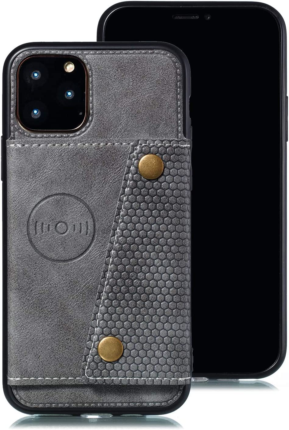 Shinyzone Case for iPhone 11 6.1 inch,Women Men Wallet Case with Card Slot Holder,Flip Leather PU Back Cover with Magnetic Buckle Closure Compatible with Magnetic Car Mount,Grey
