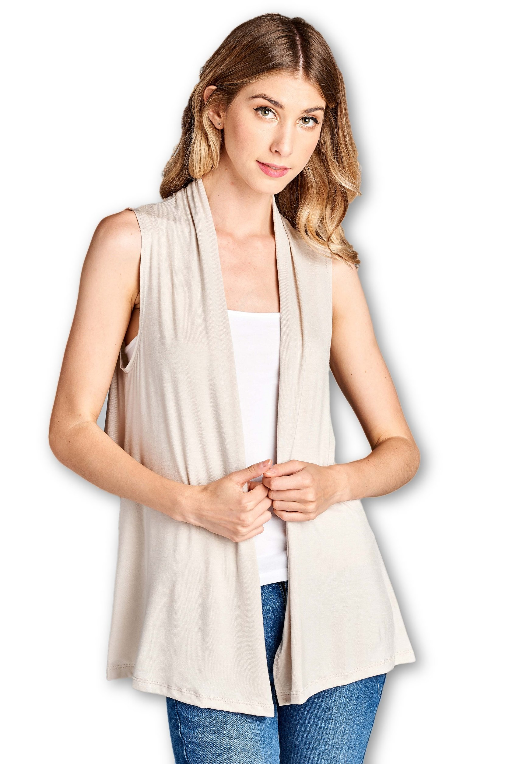 ReneeC.. Women's Extra Soft Natural Bamboo Sleeveless Cardigan - Made in USA (X-Large, Taupe)