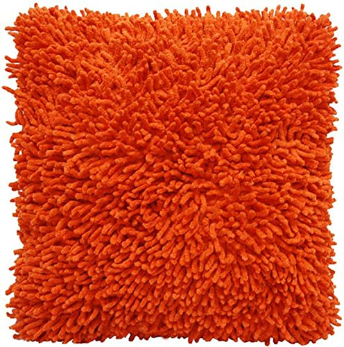 Shagadelic Chenille Twist Shag Pillow, 18-Inch, Orange