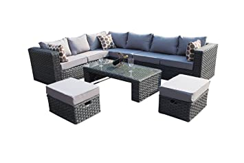 YAKOE 50020 Papaver Conservatory Modular 9 Seater Rattan Corner Garden Sofa  Furniture Set   Grey