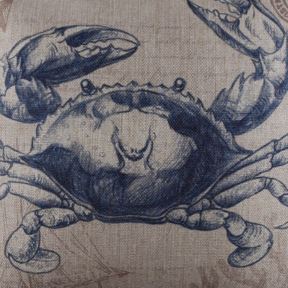 LINKWELL 18x18 Retro Blue Octopus Sea Marine Burlap Cushion Covers Pillow Case Linkwell Home Decor CC1010