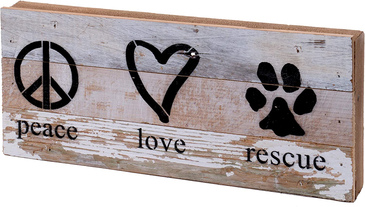 Second Nature By Hand 14x6 Inch Reclaimed Wood Art, Handcrafted Decorative Wall Plaque — Peace Love Rescue