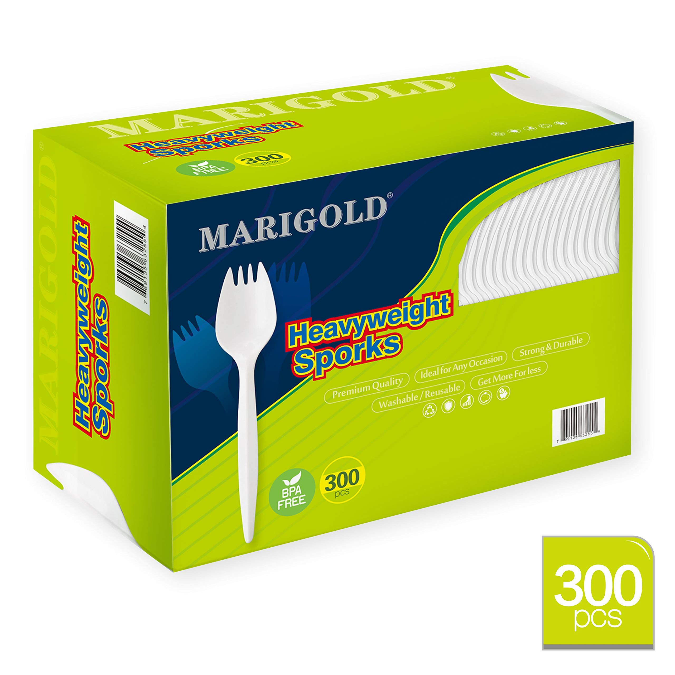 Heavy-weight Disposable Sporks 300Pk BPA-Free - MARIGOLD Recyclable cutlery, Eco-Friendly and Kid-Safe Utensils, Great for School Lunch, Picnics or Restaurant and Party Supply Spoons and Forks by Marigold