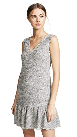 3f3836bacc05 Rebecca Taylor Women's Sleeveless Tweed V Neck Dress, Blue/Grey Combo, ...