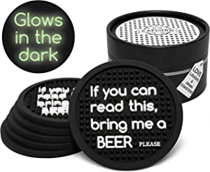 Set of 6 Coasters for Drinks Non Breakable Glowing in the Dark Absorbant Drink Coaster, Moisture Retaining, Funny Saying, Cool Beer Lover Gifts for Men and Women (If you can read this bring me a beer)