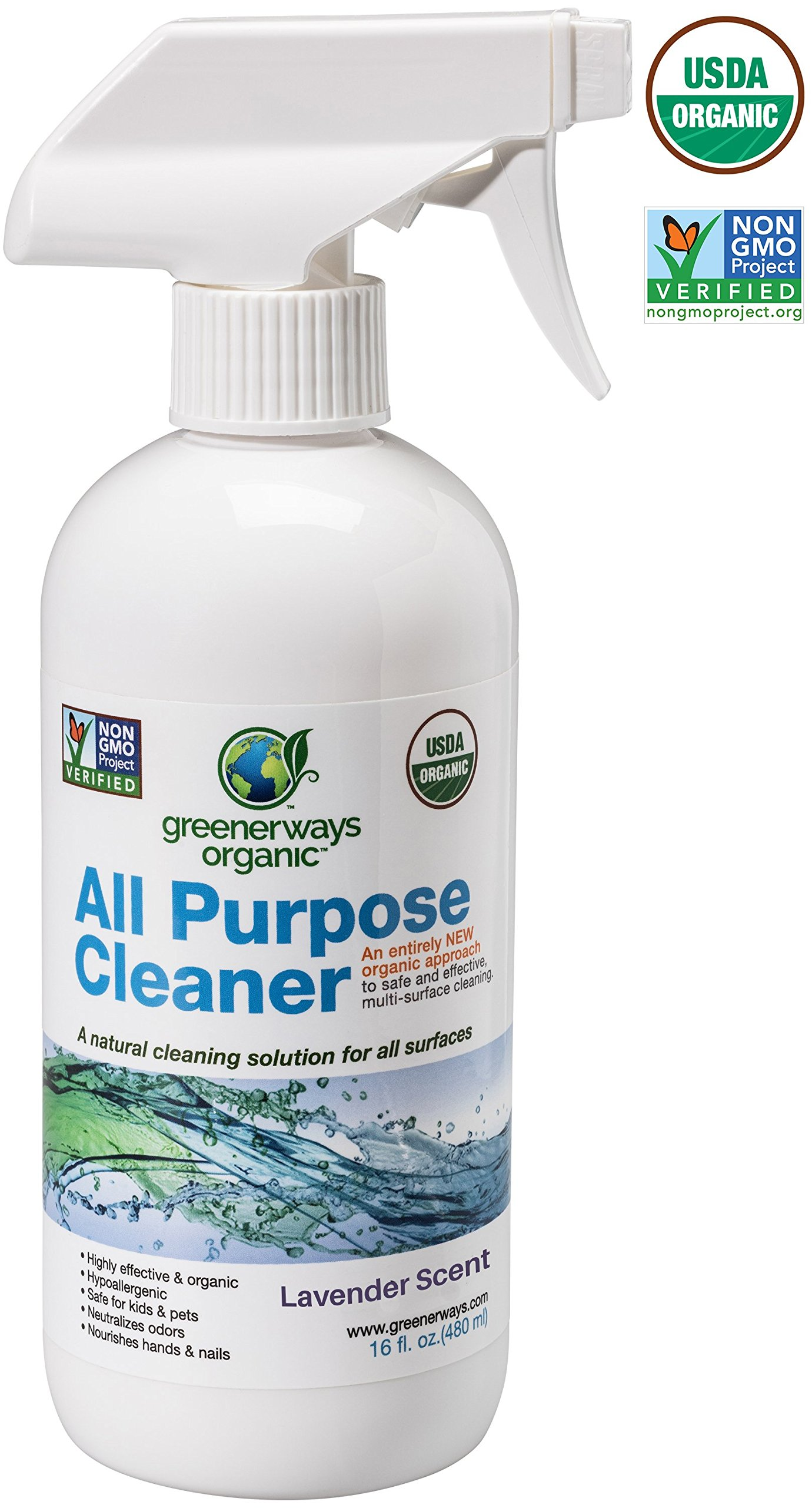 Greenerways Organic All-Purpose Lavender Scented Cleaner, Natural, USDA Organic, Non-GMO, Best Household Multi Surface Spray Cleaner for Home, Glass, Kitchen, Bathroom, Shower, Window, Streak Free